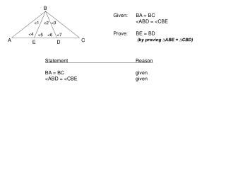 Given:	BA = BC 	<ABD = <CBE Prove:	BE = BD (by proving ∆ABE = ∆CBD)
