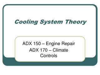 Cooling System Theory