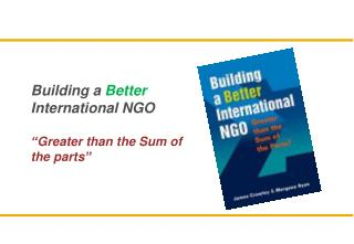 "Building a  Better  International NGO  "" Greater than the Sum of the parts """