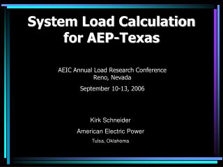 System Load Calculation for AEP-Texas