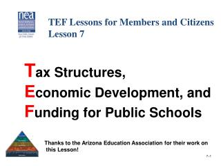 T ax Structures,  E conomic Development, and    F unding for Public Schools