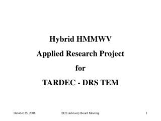 Hybrid HMMWV  Applied Research Project for TARDEC - DRS TEM
