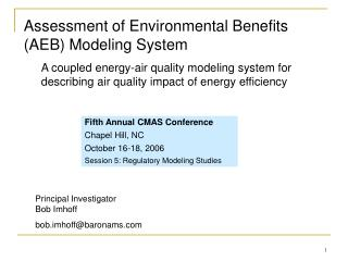 Assessment of Environmental Benefits (AEB) Modeling System