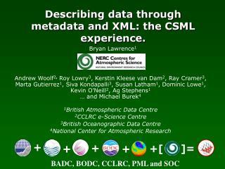 Describing data through metadata and XML: the CSML experience.