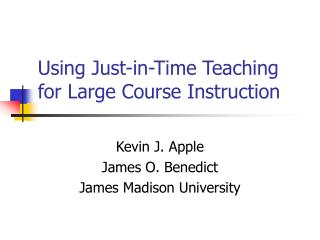 Using Just-in-Time Teaching for Large Course Instruction