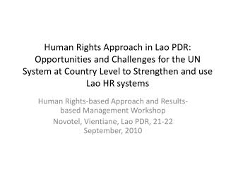 Human Rights-based Approach and Results-based Management Workshop