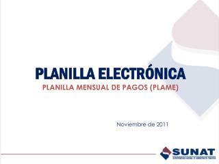 PLANILLA ELECTR�NICA  PLANILLA MENSUAL DE PAGOS (PLAME)