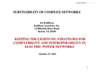 SURVIVABILITY OF COMPLEX NETWORKS