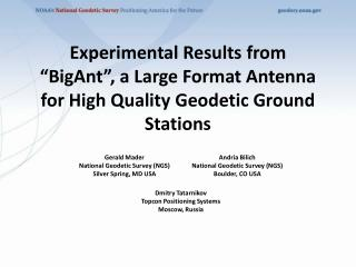 Gerald Mader National Geodetic Survey (NGS) Silver Spring, MD USA