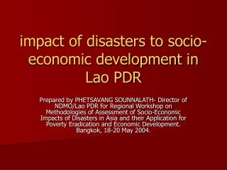 impact of disasters to socio-economic development in Lao PDR