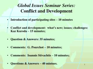 Global Issues Seminar Series: Conflict and Development