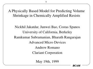 A Physically Based Model for Predicting Volume Shrinkage in Chemically Amplified Resists