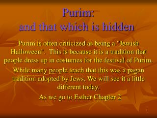 Purim:  and that which is hidden