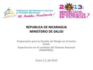 REPUBLICA DE NICARAGUA MINISTERIO DE SALUD