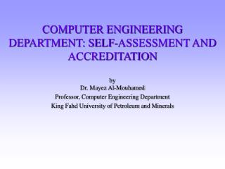 COMPUTER ENGINEERING DEPARTMENT: SELF-ASSESSMENT AND ACCREDITATION