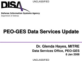 PEO-GES Data Services Update
