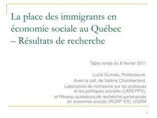 La place des immigrantsen économie sociale au Québec  – Résultats de recherche
