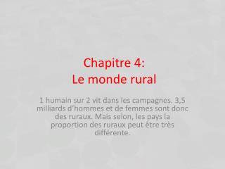 Chapitre 4: Le monde rural