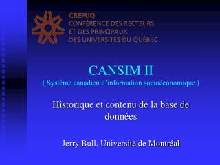 CANSIM II ( Système canadien d'information socioéconomique )