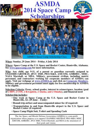 ASMDA  2014 Space Camp  Scholarships