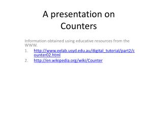 A presentation on  Counters