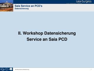 Saia Service an PCD's Datensicherung