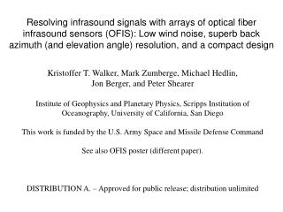 Kristoffer T. Walker, Mark Zumberge, Michael Hedlin,  Jon Berger, and Peter Shearer