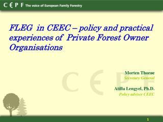 FLEG  in CEEC � policy and practical  experiences of  Private Forest Owner Organisations