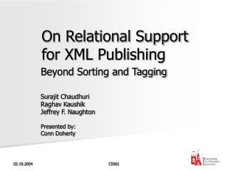 On Relational Support for XML Publishing