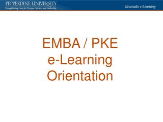 EMBA / PKE e-Learning Orientation
