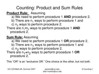 Counting: Product and Sum Rules