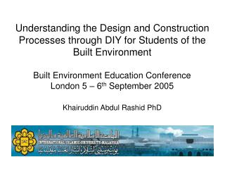 Understanding the Design and Construction Processes through DIY for Students of the