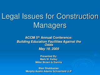 Legal Issues for Construction Managers