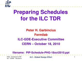 Preparing Schedules  for the ILC TDR