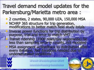 Travel demand model updates for the Parkersburg/Marietta metro area :