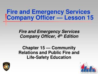 Fire and Emergency Services Company Officer  �  Lesson 15