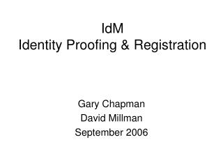 IdM Identity Proofing & Registration