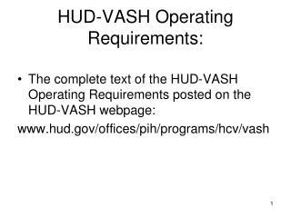 HUD-VASH Operating Requirements: