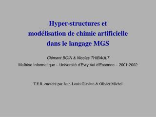 Hyper-structures et  modélisation de chimie artificielle  dans le langage MGS