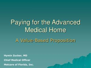 Paying for the Advanced Medical Home