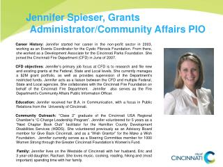 Jennifer Spieser, Grants Administrator/Community Affairs PIO