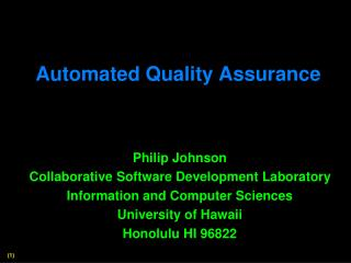 Automated Quality Assurance