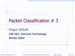 Packet Classification # 3