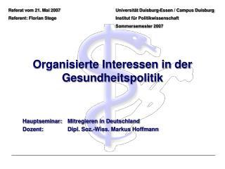 Organisierte Interessen in der Gesundheitspolitik