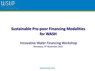 Sustainable Pro-poor Financing Modalities for WASH  Innovative Water Financing Workshop
