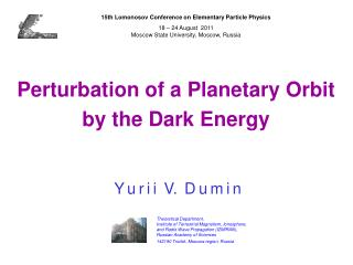 Perturbation of a Planetary Orbit by the Dark Energy