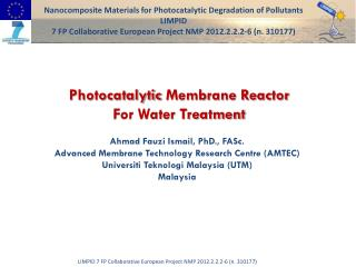 Photocatalytic  Membrane Reactor  For Water Treatment