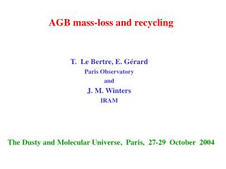 AGB mass-loss and recycling