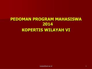 PEDOMAN PROGRAM MAHASISWA 2014 KOPERTIS WILAYAH VI