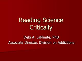 Reading Science Critically